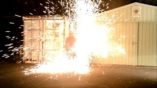 Explosion from high voltage capacitor bank into steel wool gives a big shower of sparks