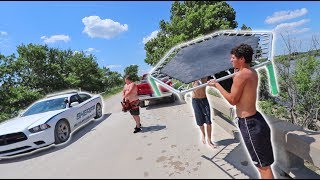 INSANE TRAMPOLINE FLIPS OFF BRIDGE GONE WRONG!