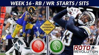 2018 Fantasy Football Lineup Advice  - Week 16 RB / WR Start/Sit Episode thumbnail