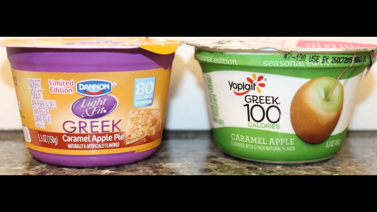 Dannon Light U0026 Fit Caramel Apple Pie U0026 Yoplait Greek 100 Caramel Apple  Yogurt Comparison   YouTube