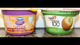 Dannon Light & Fit Caramel Apple Pie & Yoplait Greek 100 Caramel Apple Yogurt Comparison