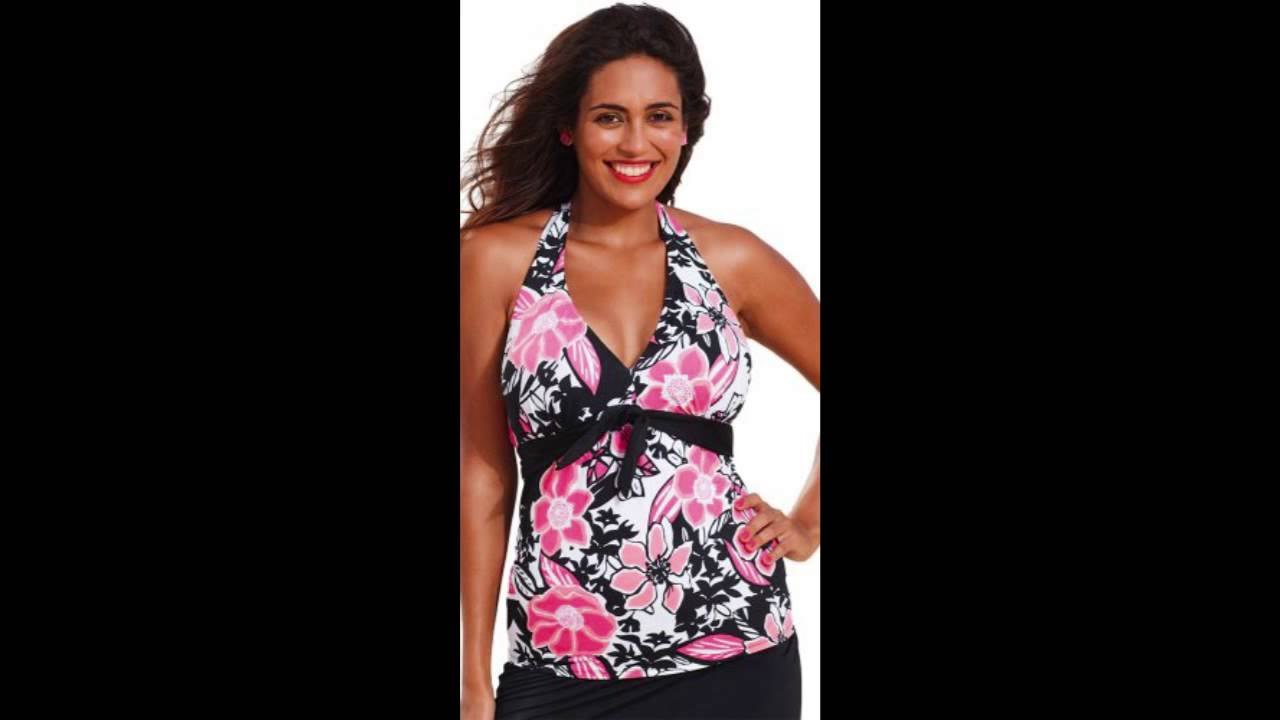 a5d33f8397e Shore Club Womens Plus Size Rosewood Tie Front Halter Tankini Top Multi -  YouTube