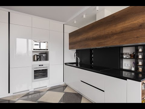 Угловая кухня без ручек с пенальной зоной | Everest.by