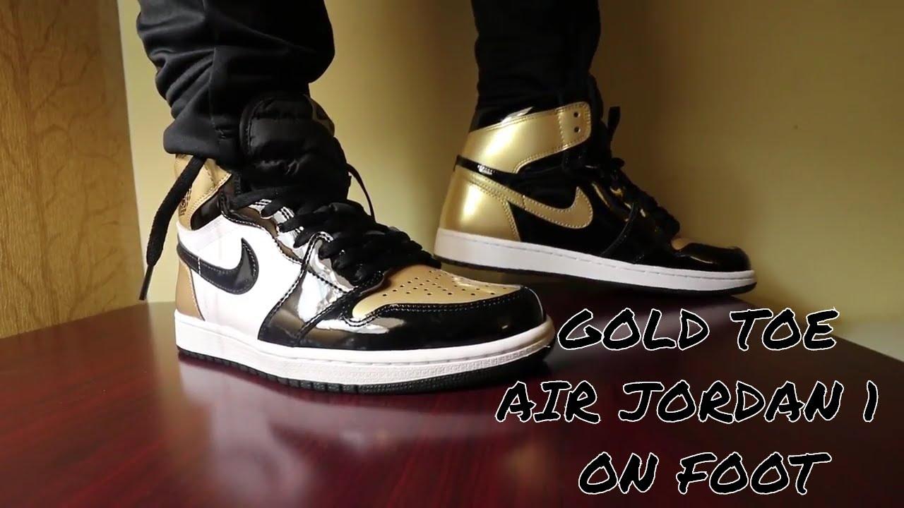 e890b9ae293d52 gold toe 1s JORDAN 1 GOLD TOE ON FOOT   REVIEW!!! - YouTube