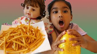 Ishfi and her Baby Doll Likes French Fries