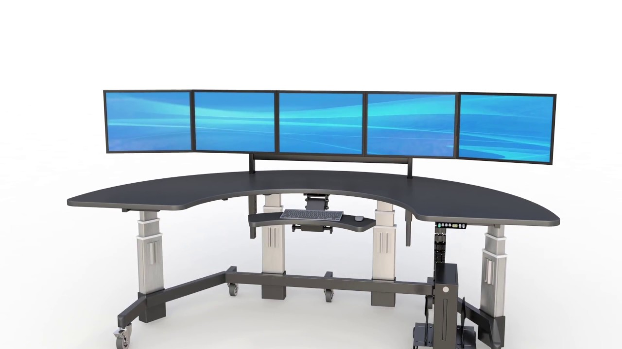 Multiple Monitor Semi Circle Desk