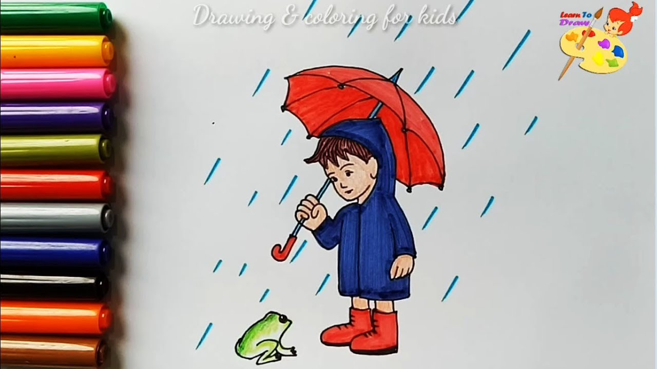 How To Draw A Rainy Day Coloring Pages For Kids Youtube