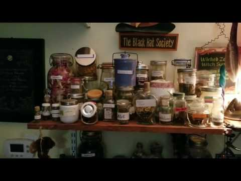 My apothecary shelves tour! Herbs and magickal ingredients.