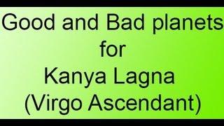 good and bad planets for kanya lagna virgo ascendant