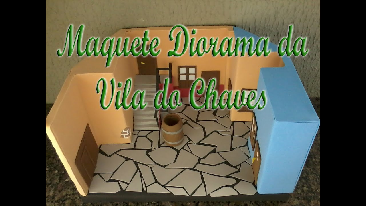 Diy maquete diorama da vila do chaves em e v a 3d youtube for Mural de isopor e eva