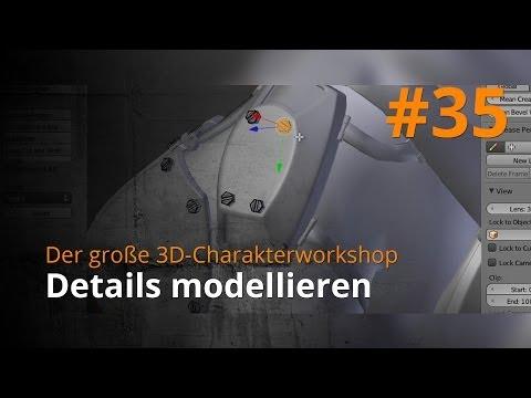 Blender 3D-Charakterworkshop Teil 1 | #35 – Details modellieren