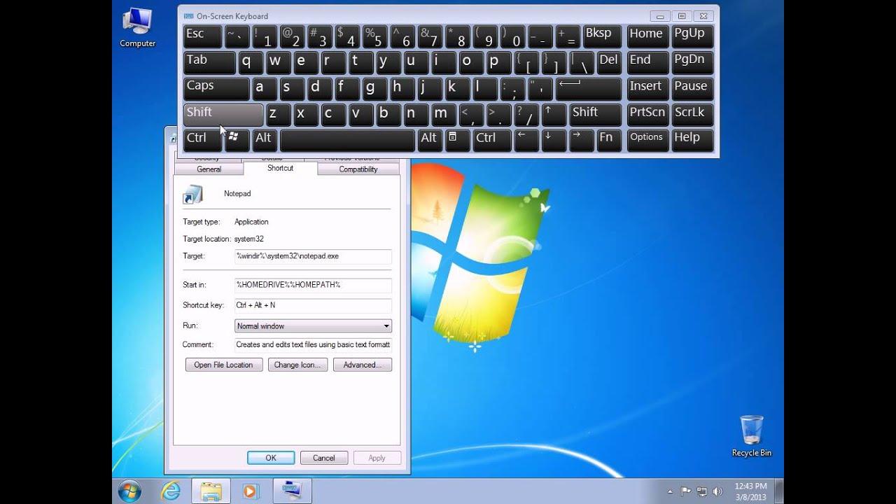 How to create a shortcut key in Windows 7 (hotkey)