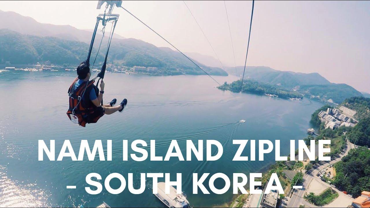 Nami Island Zipline | South Korea - YouTube
