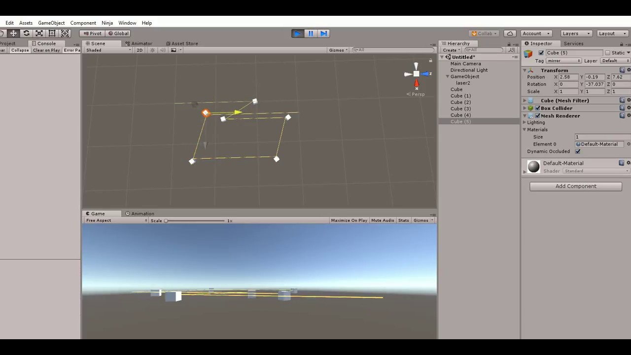 Unity Laser with Line Renderer, Reflection