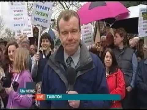 Vivary Green Wedge - hundreds protest against development (ITV West report)