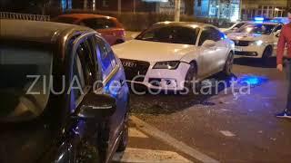 Accident rutier la intersecția străzilor Soveja și Adamclisi din Constanța. Un audi și un BMW