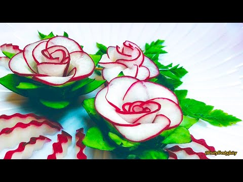 The Beauty Of Rose Carving Garnish: Best Vegetable For Flower Design - Red Radish & Cucumber