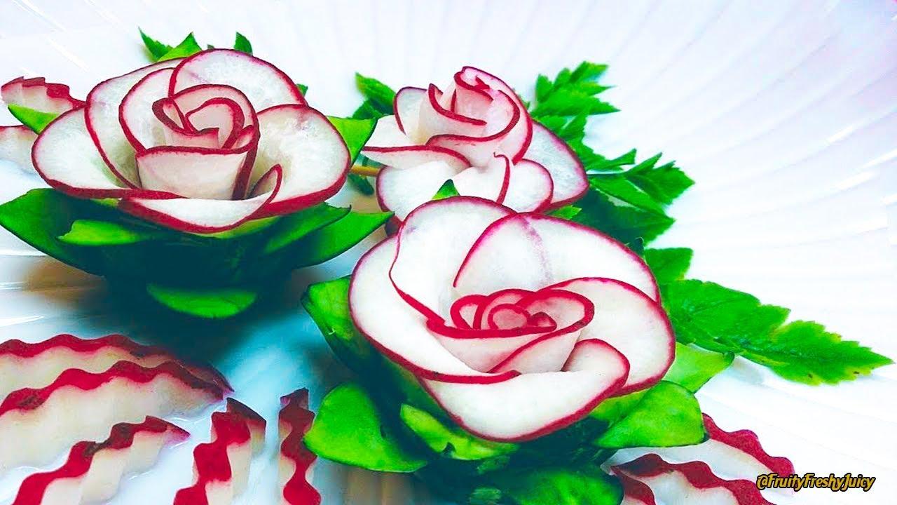 The Beauty Of Rose Carving Garnish: Best Vegetable For Flower Design - Red Radish & Cucumber