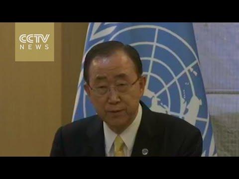 FM Wang Yi and Ban Ki-moon hold joint press conference