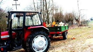 Zwózka drewna i rębak MF 255 + przyczepa SAM