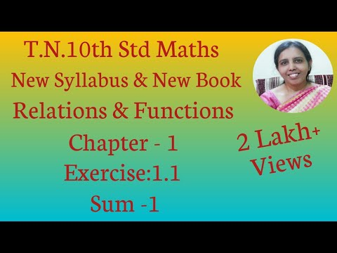 10th Std Maths New Syllabus (T.N) 2019 -2020 Relations & Functions Ex:1.1-1