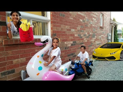 McDonalds Drive Thru Prank! Power Wheels Ride On Car Kids Pretend Play part 3
