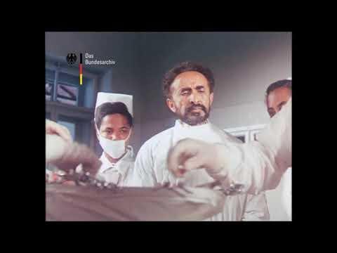 Emperor Haile Selassie visiting hospital
