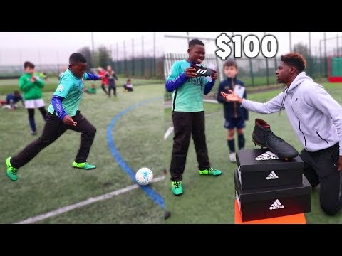 Donating $100 football boots for every crossbar challenge hit