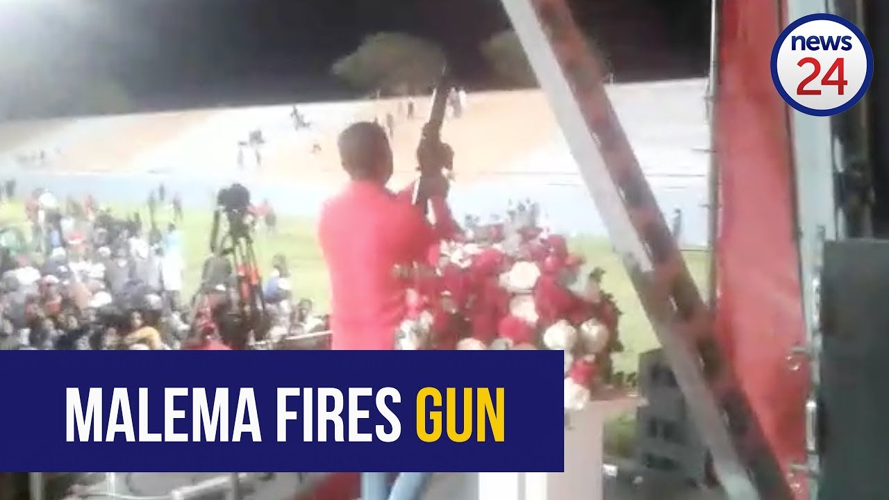 South African EFF leader  Julius Malema appears to fire assault rifle during the party's after party rally.