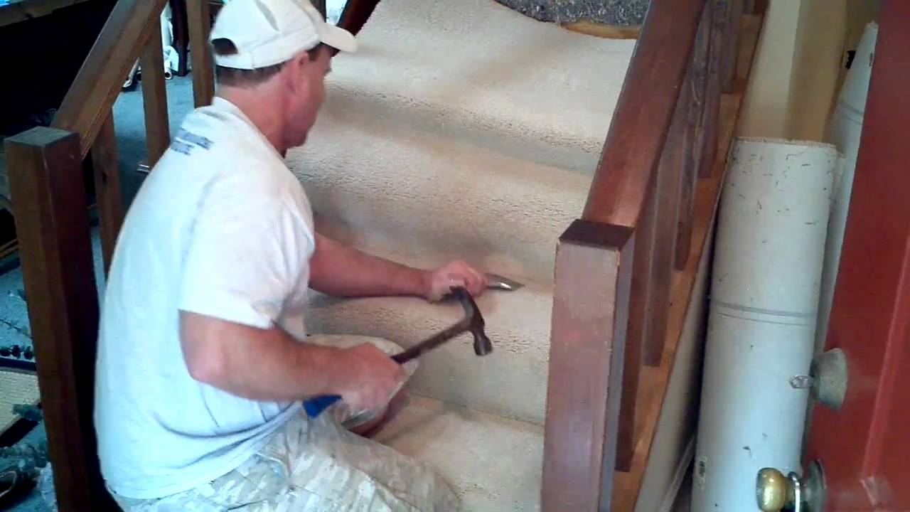 How To Install Carpet On Stairs - YouTube How To Lay Carpet In A Bat on