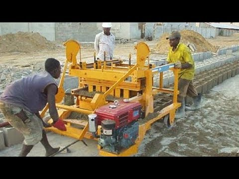 QT4-45 diesel engine movable egg laying cement concrete block making machine in Africa