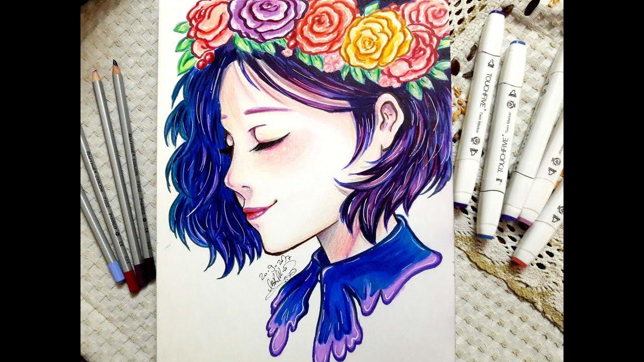 رسم وتلوين فتاة أنمي بالألوان الخشبية والماركر || Drawing Anime Girl With Galaxy Hair