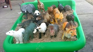 learn safari wild zoo animals names with schleich and safari ltd toy collection playing with sand