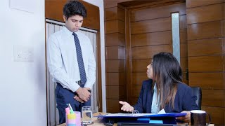 Irritated female manager shouts at the junior male colleague