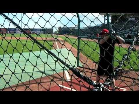 Jason Giambi Takes Batting Practice on 8-8-2011 before a Sky Sox game