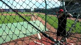 Jason Giambi Takes Batting Practice on 8-8-2011 before a Sky Sox game