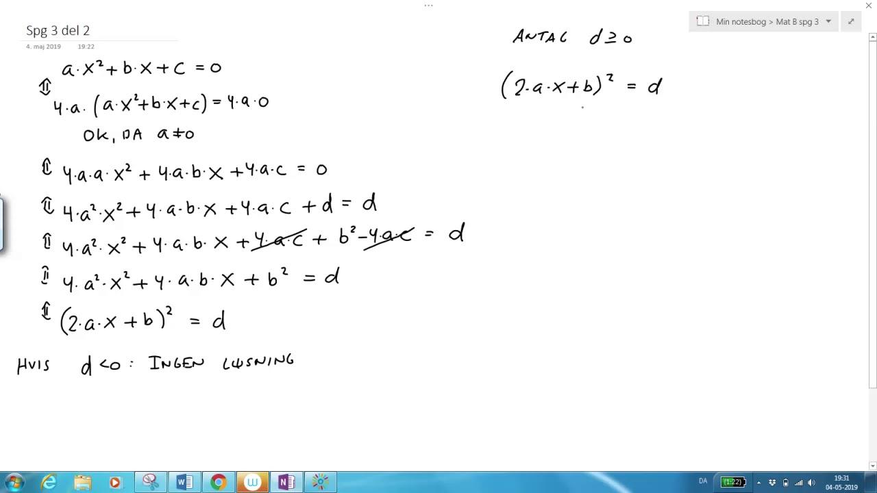 Andengradsploynomiet: Bevis for nulpunktsformlen del 2