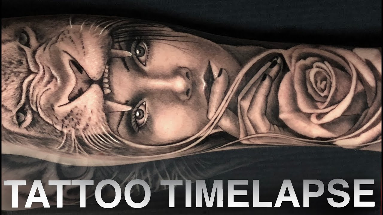Tattoo Time Lapse Lion Rose Girl Portrait Chrissy Lee Youtube