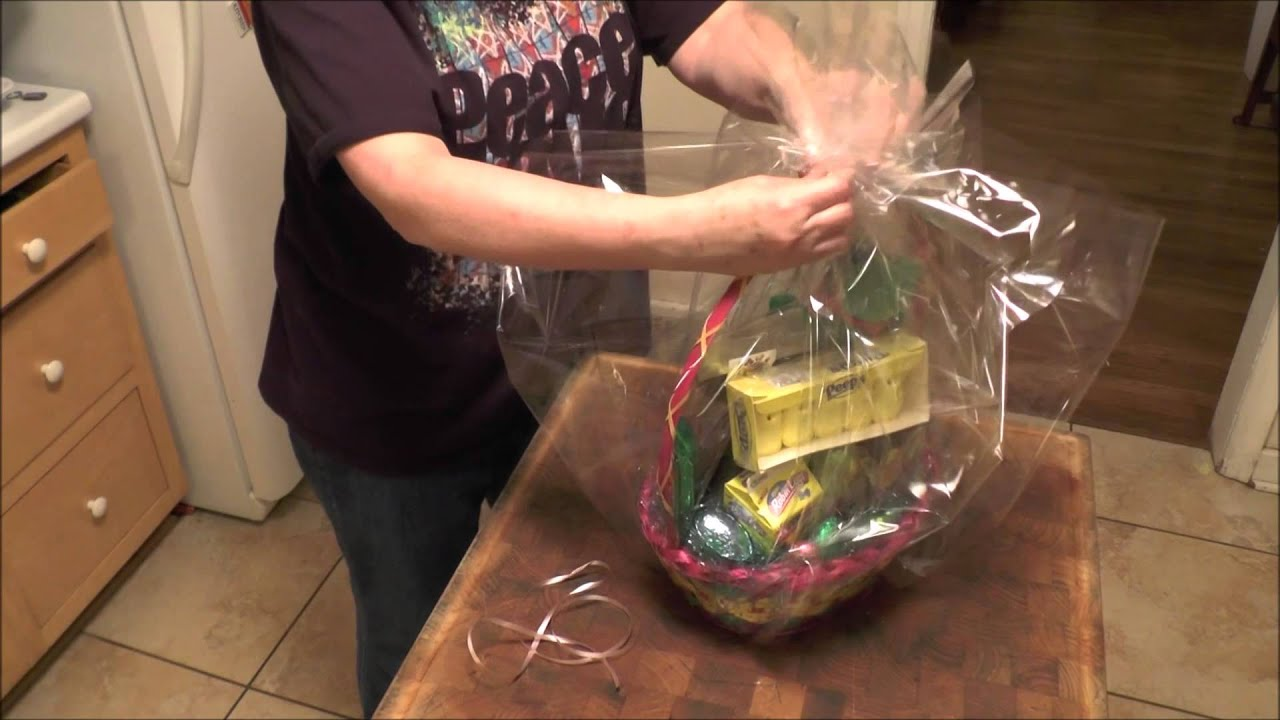 How To Wrap A Gift Basket With Cello And Then Put On A Bow Youtube