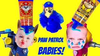 Paw Patrol Chase & Skye Turn into CRYING BABIES and Get a Bath   Fizzy Toy Show