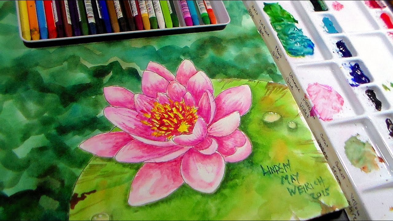 Waterlily In Watercolor Amp Watercolor Pencil Real Time