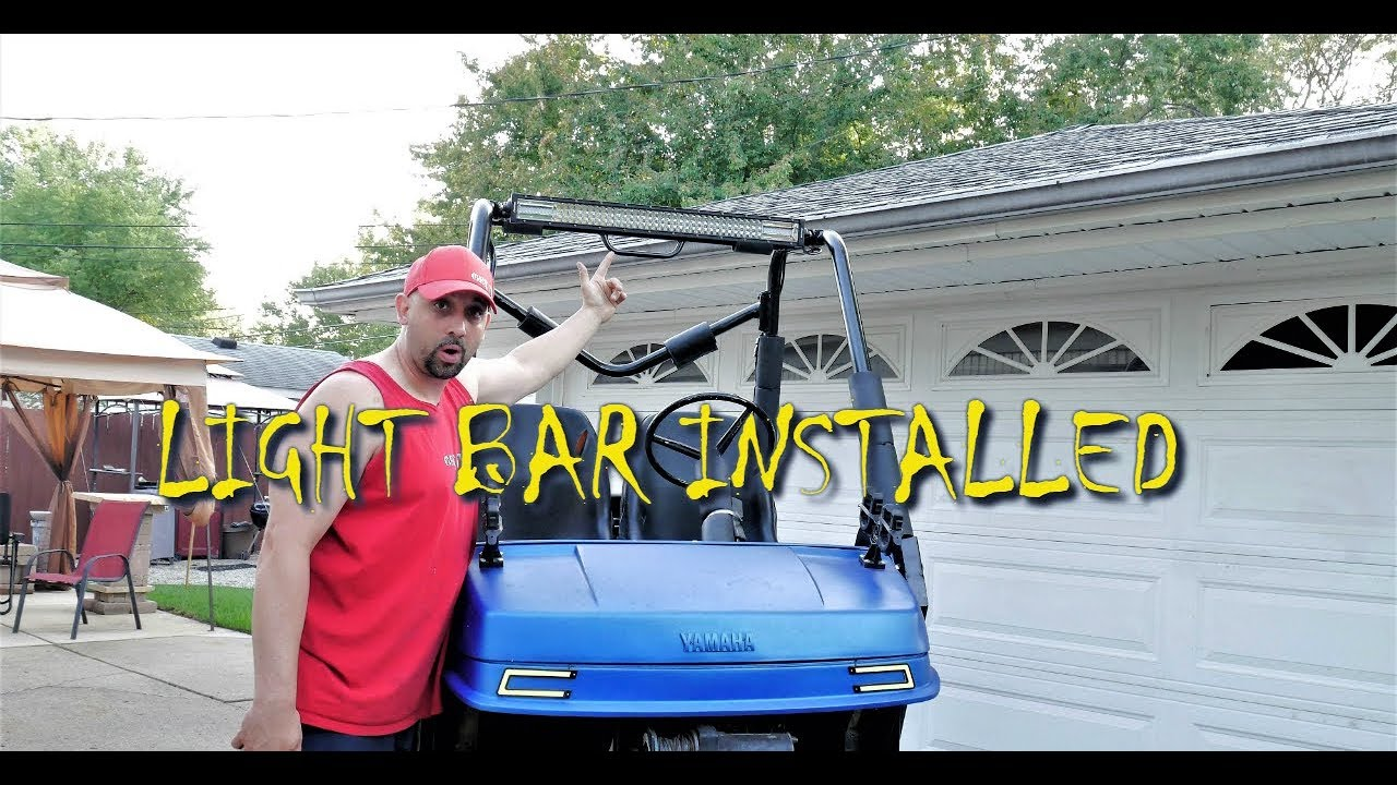 8D Light bar install on my golf cart - YouTube on golf cart with dump bed 4x4, golf carts driving lights, golf tail lites for 5, golf carts street-legal light kits,