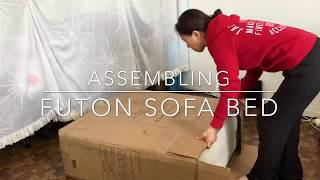 Assembling DHP Emily Linen Futon Sofa Couch Bed - Time Lapse