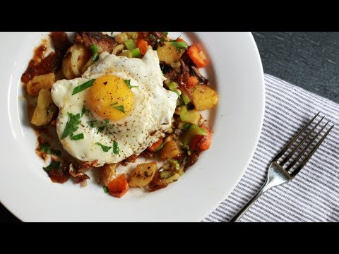 Andrew Zimmern Cooks: Brisket Hash with Fried Eggs