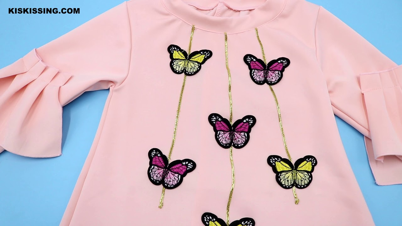 [VIDEO] - Stylish Little Big Girl Flutter Sleeve Butterfly Casual Shift Dress for Spring Wholesale 1