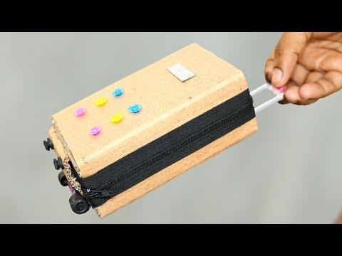 Trolly Bag Make at Home    travel Bag Make of Cardboard    DIY Miniature Doll Mini Suitcase Bag