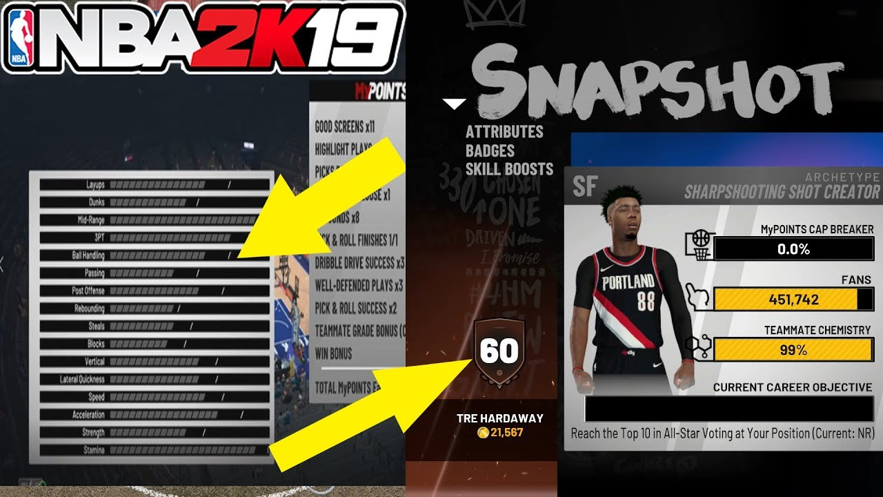 NBA 2K19 RESET MY PLAYER TO A 60 OVERALL!!! **NO ATTRIBUTES OR CAP  BREAKER** | NBA 2K19