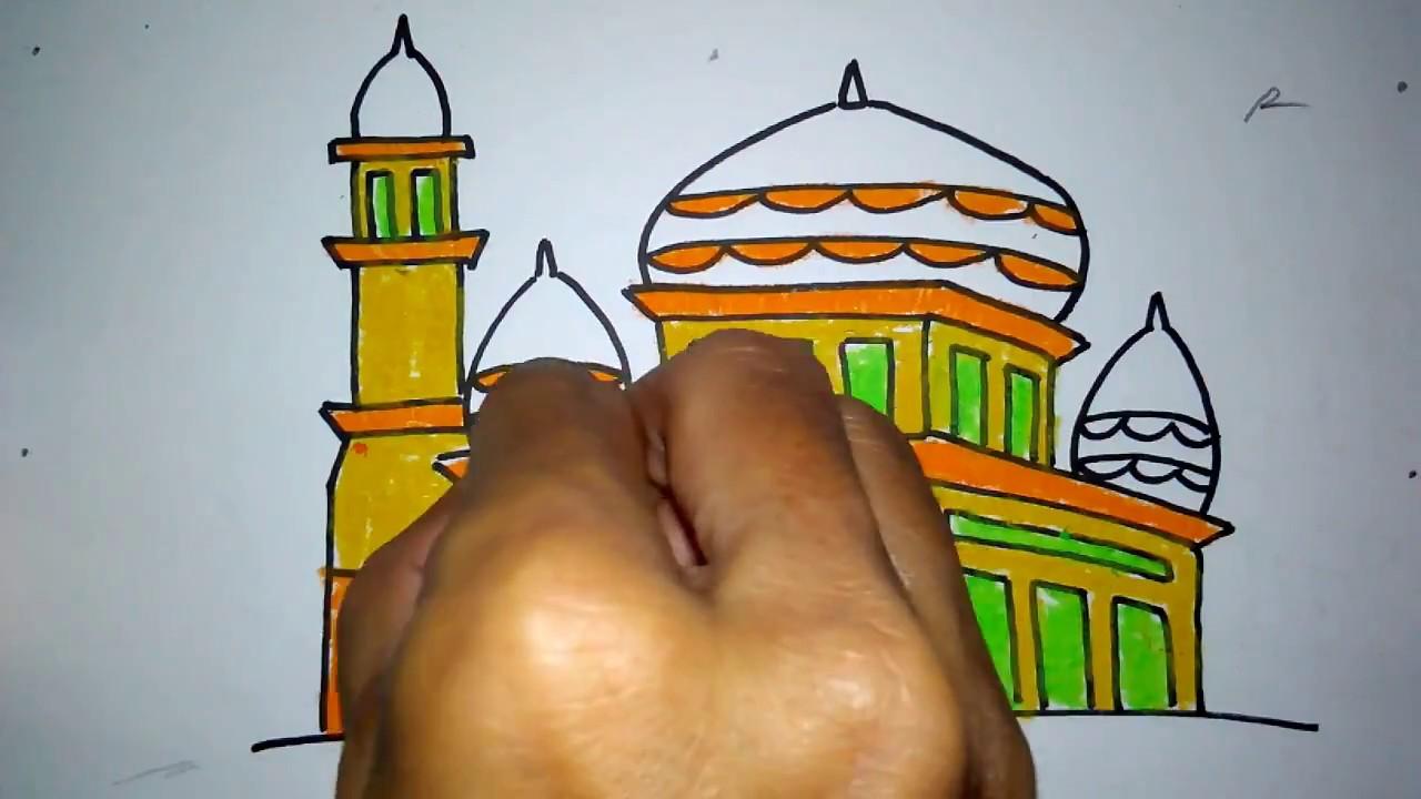 Cara Menggambar Masjid Baru 2 Untuk Anak Sd Youtube