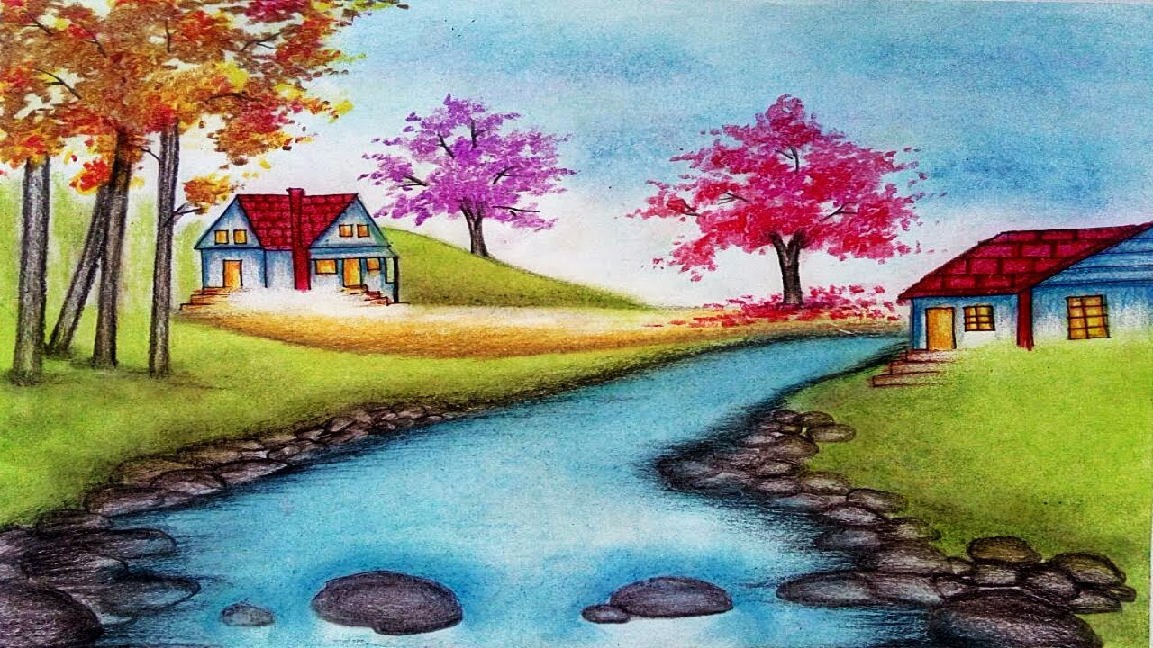 How To Draw Spring Season Landscape with Oil Pastels step ...
