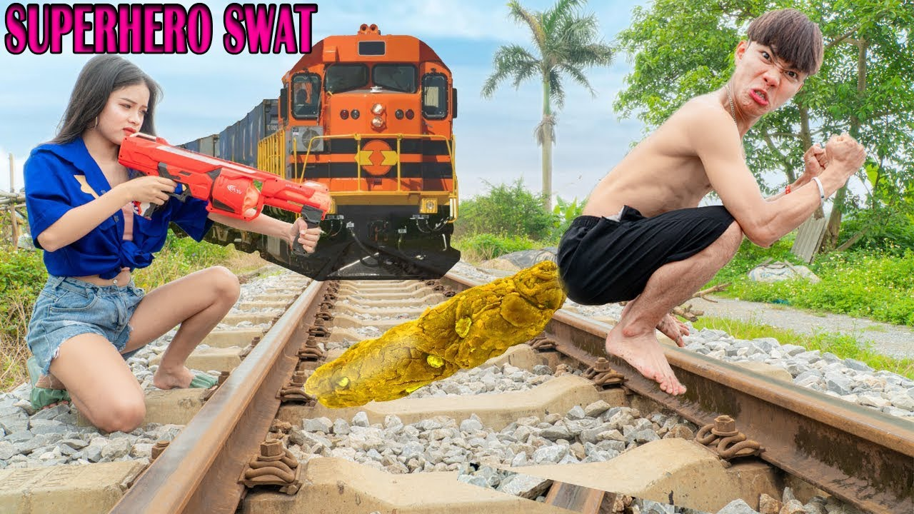Potty Man Stops The High speed Train Nerf Guns Fight Police Girl and Escape Prank | Superheroes SWAT